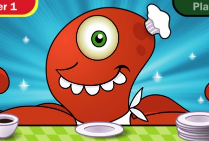 Everyday Mathematics Monster Squeeze is a two-player game aimed at engaging younger kids about math.